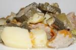 Мясо, запеченное с картофелем и овощами