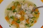 Куриный суп с рисовой вермишелью и овощами