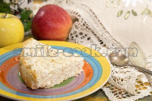 творожная запеканка с овсянкой и яблоком